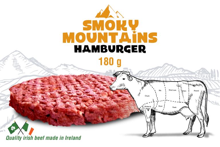 Smoky Mountains Hamburger van 180gr met illustratie van rund