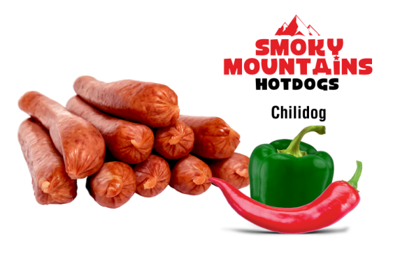 Gourmet hotdogs van Smoky Mountains met chili peper en paprika